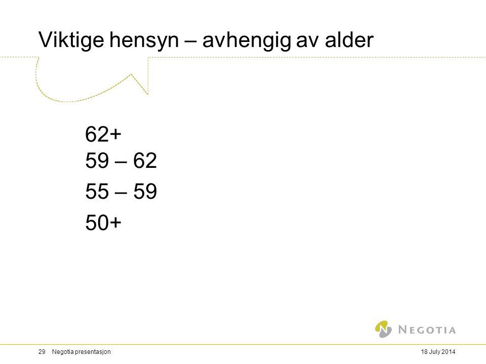 Viktige hensyn – avhengig av alder 62+ 59 – 62 55 – 59 50+ 18 July 201429 Negotia presentasjon