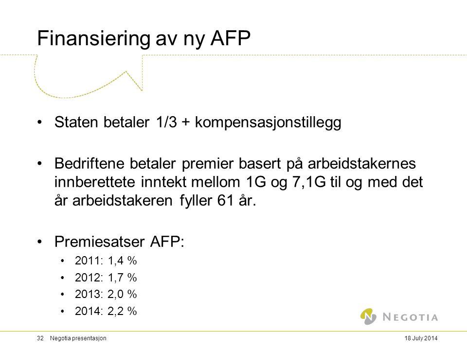 Finansiering av ny AFP Staten betaler 1/3 + kompensasjonstillegg Bedriftene betaler premier basert på arbeidstakernes innberettete inntekt mellom 1G o