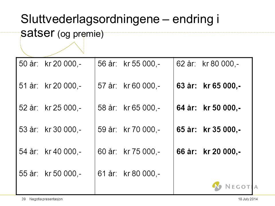 18 July 201439 Negotia presentasjon Sluttvederlagsordningene – endring i satser (og premie) 50 år: kr 20 000,- 51 år: kr 20 000,- 52 år: kr 25 000,- 5