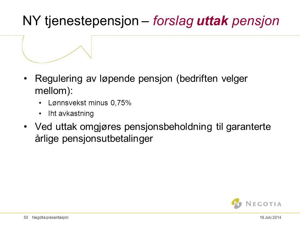 NY tjenestepensjon – forslag uttak pensjon Regulering av løpende pensjon (bedriften velger mellom): Lønnsvekst minus 0,75% Iht avkastning Ved uttak om