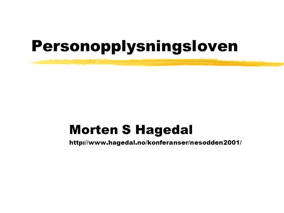 Personopplysningsloven Morten S Hagedal http://www.hagedal.no/konferanser/nesodden2001/