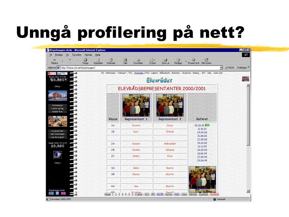 Unngå profilering på nett