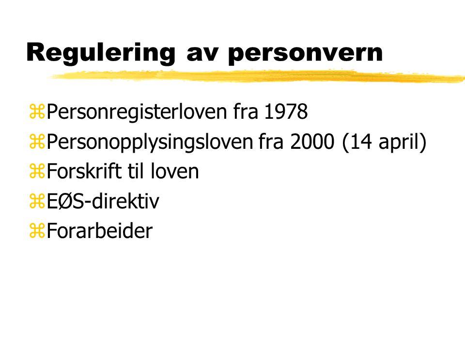 Regulering av personvern zPersonregisterloven fra 1978 zPersonopplysingsloven fra 2000 (14 april) zForskrift til loven zEØS-direktiv zForarbeider