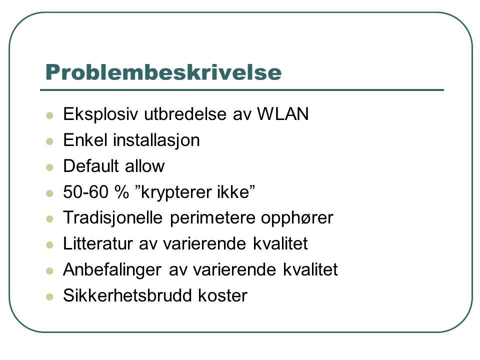 Problembeskrivelse Eksplosiv utbredelse av WLAN Enkel installasjon Default allow 50-60 % krypterer ikke Tradisjonelle perimetere opphører Litteratur av varierende kvalitet Anbefalinger av varierende kvalitet Sikkerhetsbrudd koster