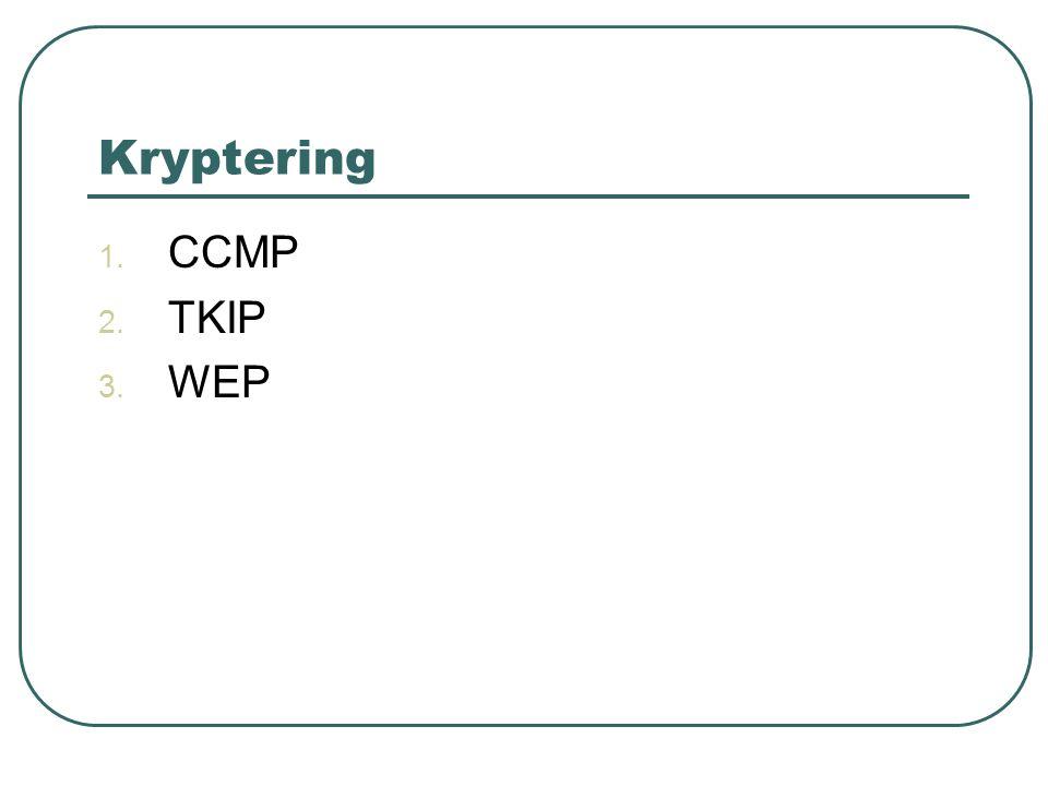 Kryptering 1. CCMP 2. TKIP 3. WEP