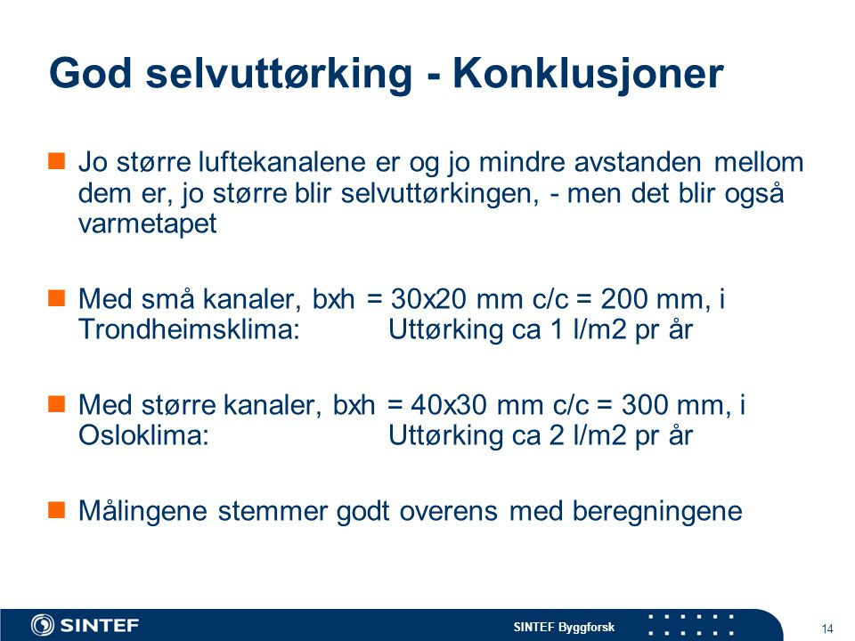 SINTEF Byggforsk 14 God selvuttørking - Konklusjoner Jo større luftekanalene er og jo mindre avstanden mellom dem er, jo større blir selvuttørkingen, - men det blir også varmetapet Med små kanaler, bxh = 30x20 mm c/c = 200 mm, i Trondheimsklima: Uttørking ca 1 l/m2 pr år Med større kanaler, bxh = 40x30 mm c/c = 300 mm, i Osloklima: Uttørking ca 2 l/m2 pr år Målingene stemmer godt overens med beregningene