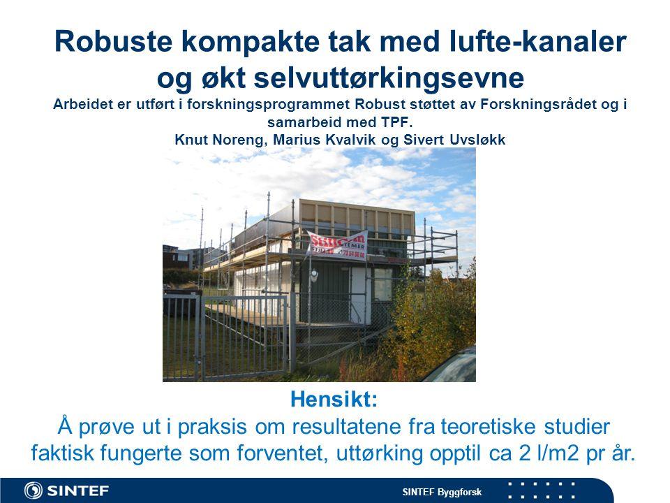 SINTEF Byggforsk Robuste kompakte tak med lufte-kanaler og økt selvuttørkingsevne Arbeidet er utført i forskningsprogrammet Robust støttet av Forskningsrådet og i samarbeid med TPF.