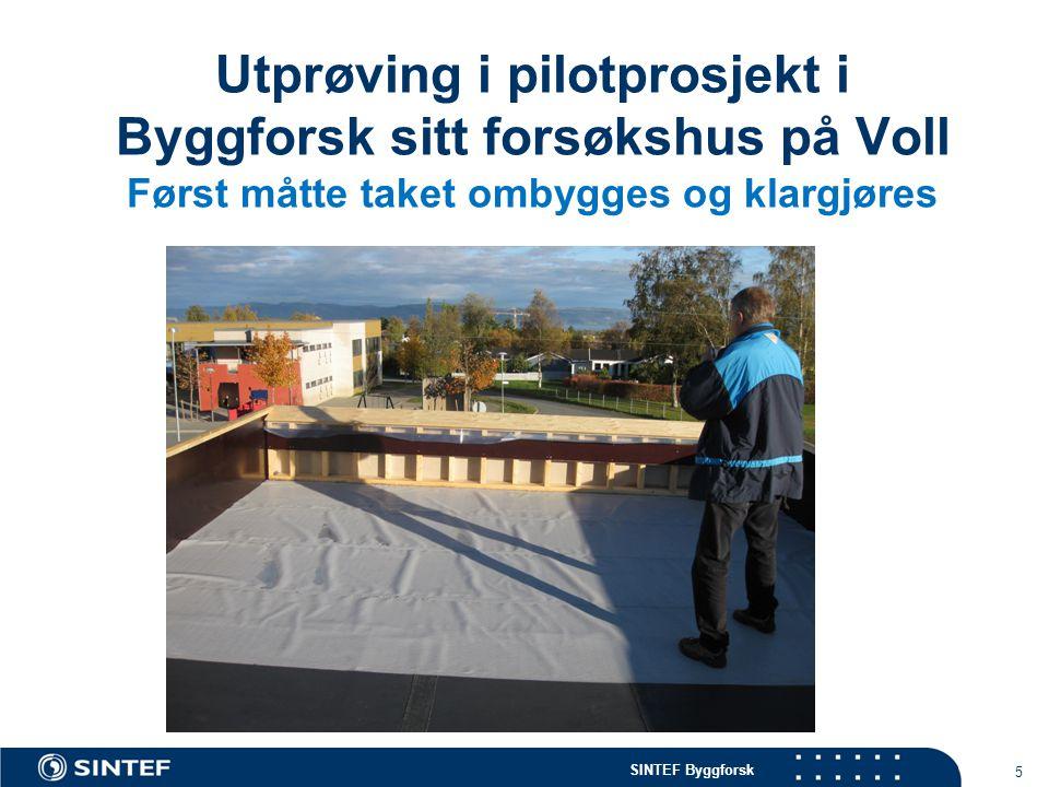 SINTEF Byggforsk Utprøving i pilotprosjekt i Byggforsk sitt forsøkshus på Voll Først måtte taket ombygges og klargjøres 5