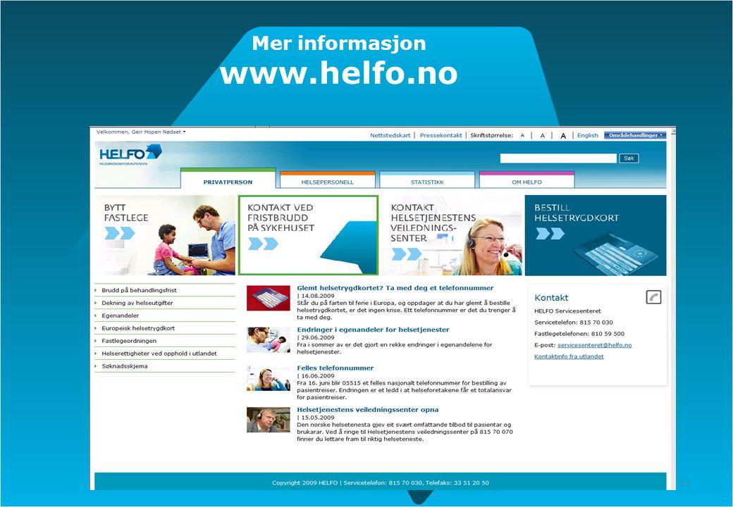 23 Mer informasjon www.helfo.no