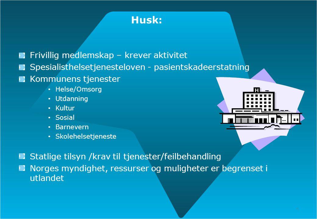 4 Husk: Frivillig medlemskap – krever aktivitet Spesialisthelsetjenesteloven - pasientskadeerstatning Kommunens tjenester Helse/Omsorg Utdanning Kultu
