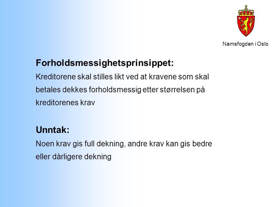 Namsfogden i Oslo Forholdsmessighetsprinsippet: Kreditorene skal stilles likt ved at kravene som skal betales dekkes forholdsmessig etter størrelsen p