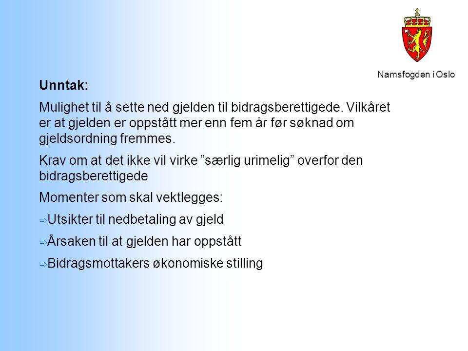 Namsfogden i Oslo Unntak: Mulighet til å sette ned gjelden til bidragsberettigede. Vilkåret er at gjelden er oppstått mer enn fem år før søknad om gje