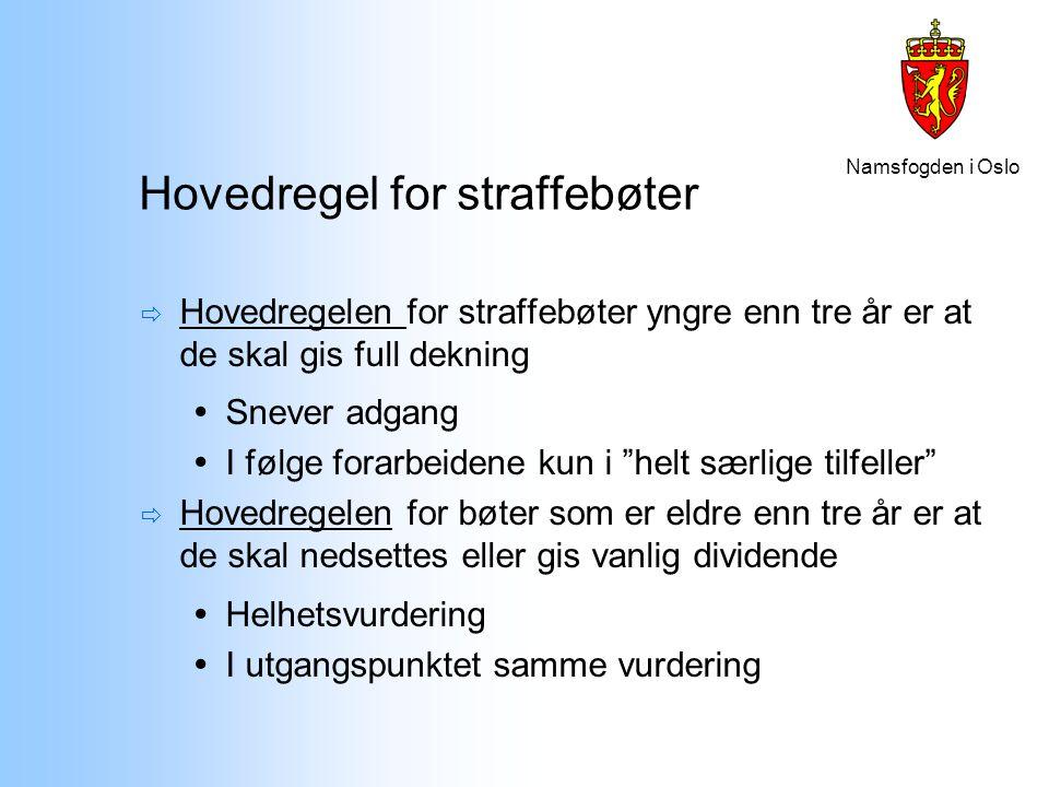 Namsfogden i Oslo Hovedregel for straffebøter  Hovedregelen for straffebøter yngre enn tre år er at de skal gis full dekning  Snever adgang  I følg
