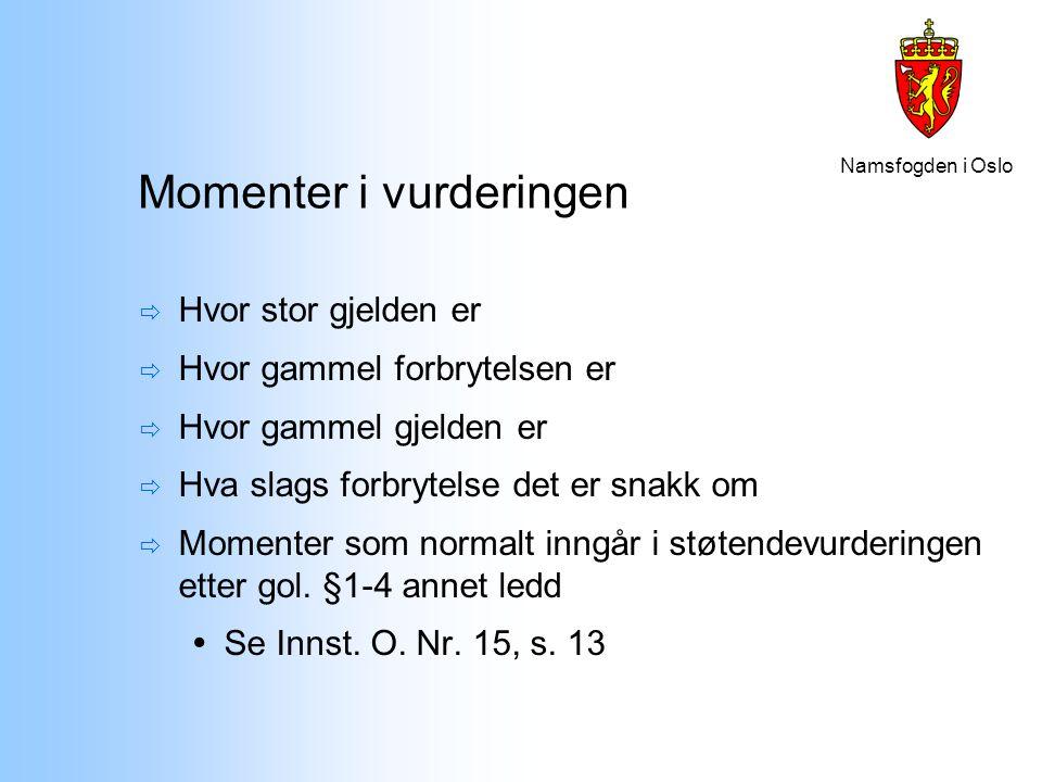 Namsfogden i Oslo Momenter i vurderingen  Hvor stor gjelden er  Hvor gammel forbrytelsen er  Hvor gammel gjelden er  Hva slags forbrytelse det er