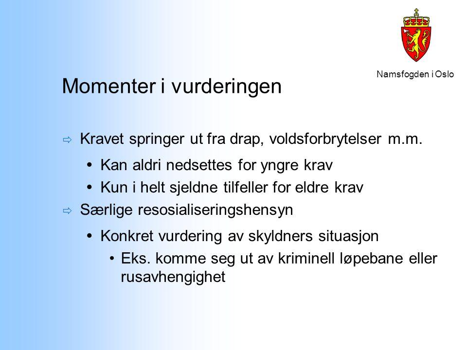Namsfogden i Oslo Momenter i vurderingen  Kravet springer ut fra drap, voldsforbrytelser m.m.  Kan aldri nedsettes for yngre krav  Kun i helt sjeld