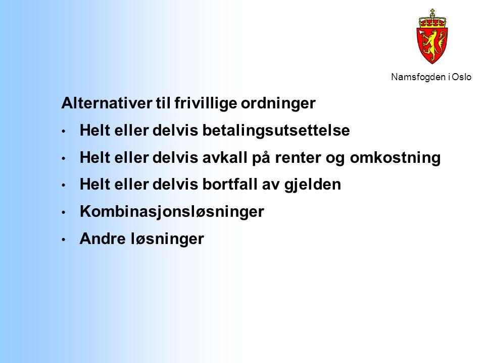 Namsfogden i Oslo Alternativer til frivillige ordninger Helt eller delvis betalingsutsettelse Helt eller delvis avkall på renter og omkostning Helt el