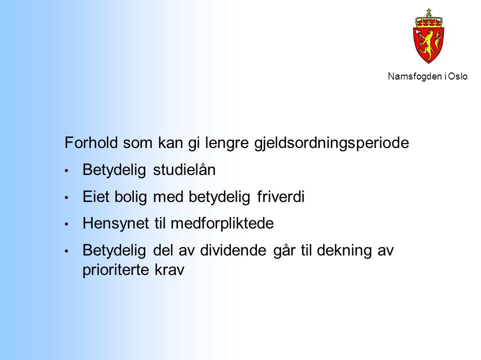 Namsfogden i Oslo Krav som kan gis bedre dekning etter § 4-8: Kravets art, jf § 4-8 bokstav g: Et krav kan gis bedre dekning enn andre krav dersom sterke grunner tilsier det.