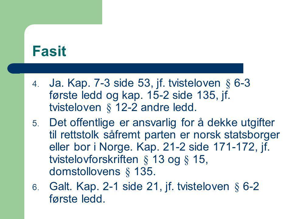 Fasit 4.Ja. Kap. 7-3 side 53, jf. tvisteloven § 6-3 første ledd og kap.