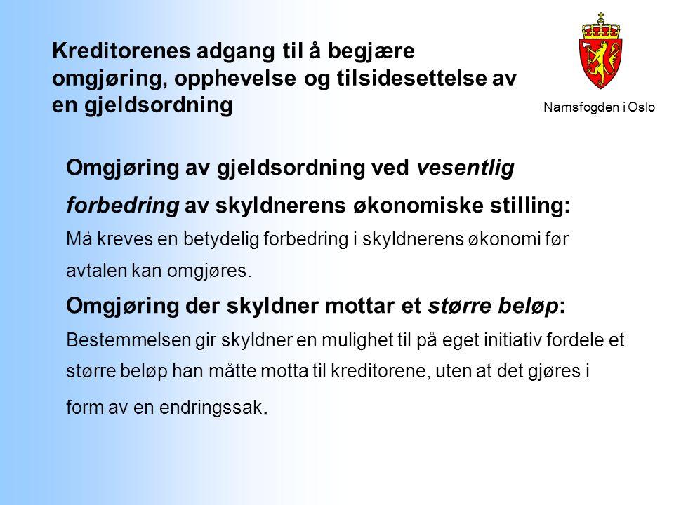 Namsfogden i Oslo Kreditorenes adgang til å begjære omgjøring, opphevelse og tilsidesettelse av en gjeldsordning Omgjøring av gjeldsordning ved vesent