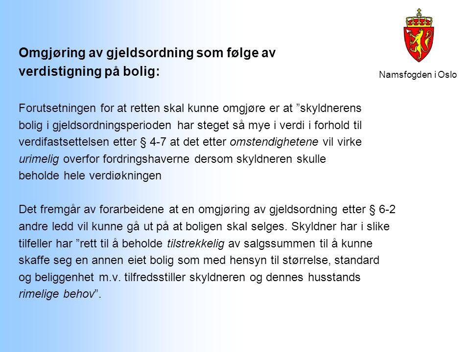 """Namsfogden i Oslo Omgjøring av gjeldsordning som følge av verdistigning på bolig: Forutsetningen for at retten skal kunne omgjøre er at """"skyldnerens b"""