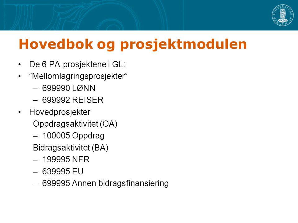 Hovedbok og prosjektmodulen De 6 PA-prosjektene i GL: Mellomlagringsprosjekter –699990 LØNN –699992 REISER Hovedprosjekter Oppdragsaktivitet (OA) –100005 Oppdrag Bidragsaktivitet (BA) –199995 NFR –639995 EU –699995 Annen bidragsfinansiering