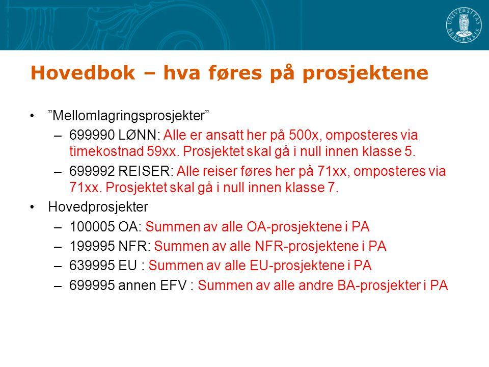 Hovedbok - budsjettering Mellomlagringsprosjekter –699990 LØNN: Må legge inn antatt lønnsbudsjett og antatt godskrevet timekostnad –699992 REISER: Må legge inn antatt reise og antatt godskrevet reisekostnad Hovedprosjekter –100005 OA: Må legge inn budsjett for OA –199995 NFR: Må legge inn budsjett for NFR –639995 EU : Må legge inn budsjett for EU –699995 annen BA : Må legge inn budsjett for annen BA