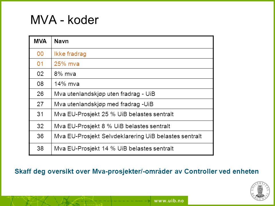 MVA - koder MVANavn 00Ikke fradrag 0125% mva 028% mva 0814% mva 26Mva utenlandskjøp uten fradrag - UiB 27Mva utenlandskjøp med fradrag -UiB 31Mva EU-P