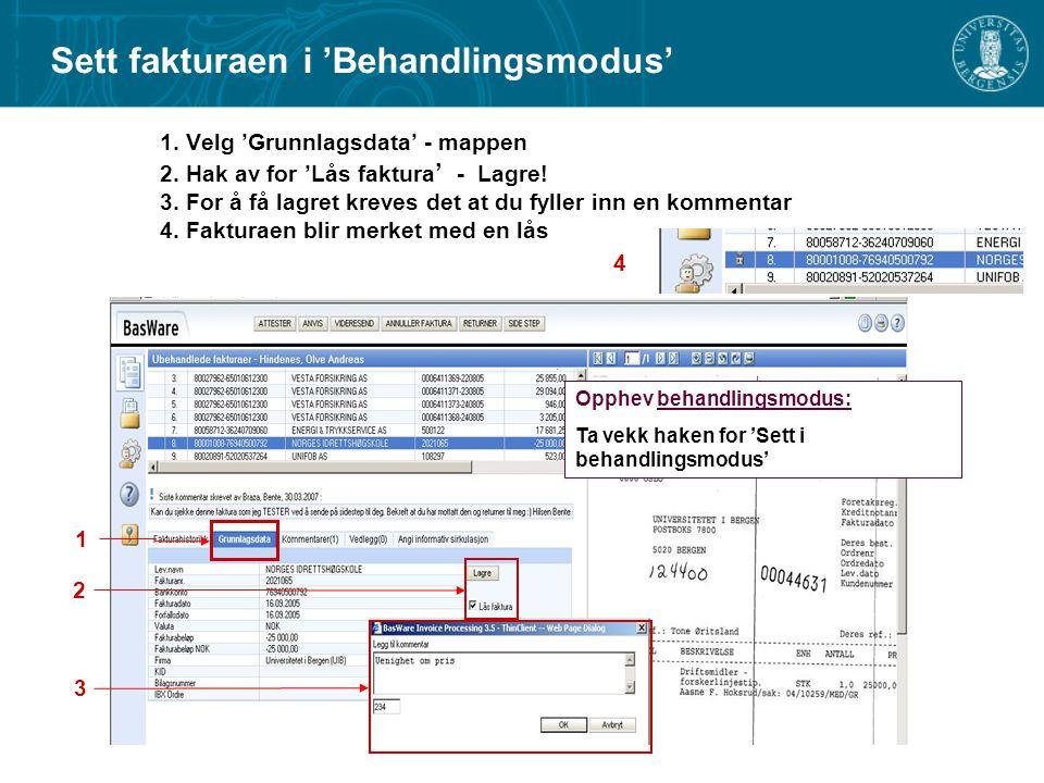 1.Velg 'Grunnlagsdata' - mappen 2. Hak av for 'Lås faktura ' - Lagre.
