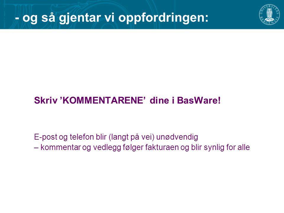 - og så gjentar vi oppfordringen: Skriv 'KOMMENTARENE' dine i BasWare! E-post og telefon blir (langt på vei) unødvendig – kommentar og vedlegg følger