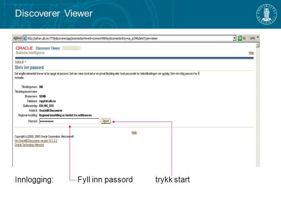 Innlogging: Fyll inn passord trykk start Discoverer Viewer