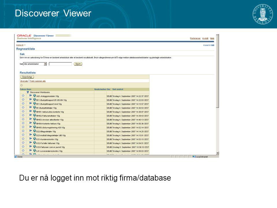 Du er nå logget inn mot riktig firma/database Discoverer Viewer