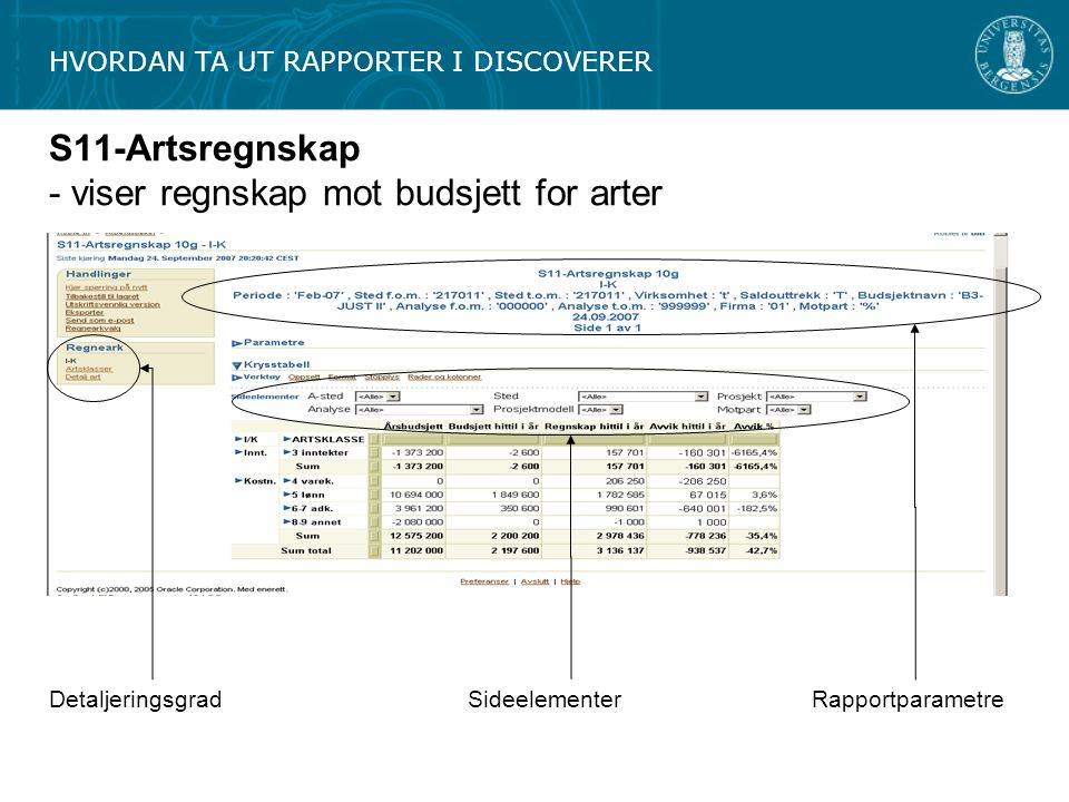 S11-Artsregnskap - viser regnskap mot budsjett for arter DetaljeringsgradRapportparametreSideelementer HVORDAN TA UT RAPPORTER I DISCOVERER