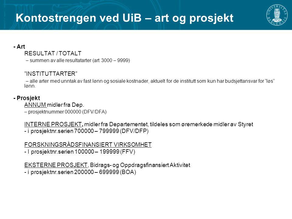 """Kontostrengen ved UiB – art og prosjekt - Art RESULTAT / TOTALT – summen av alle resultatarter (art 3000 – 9999) """"INSTITUTTARTER"""" – alle arter med unn"""