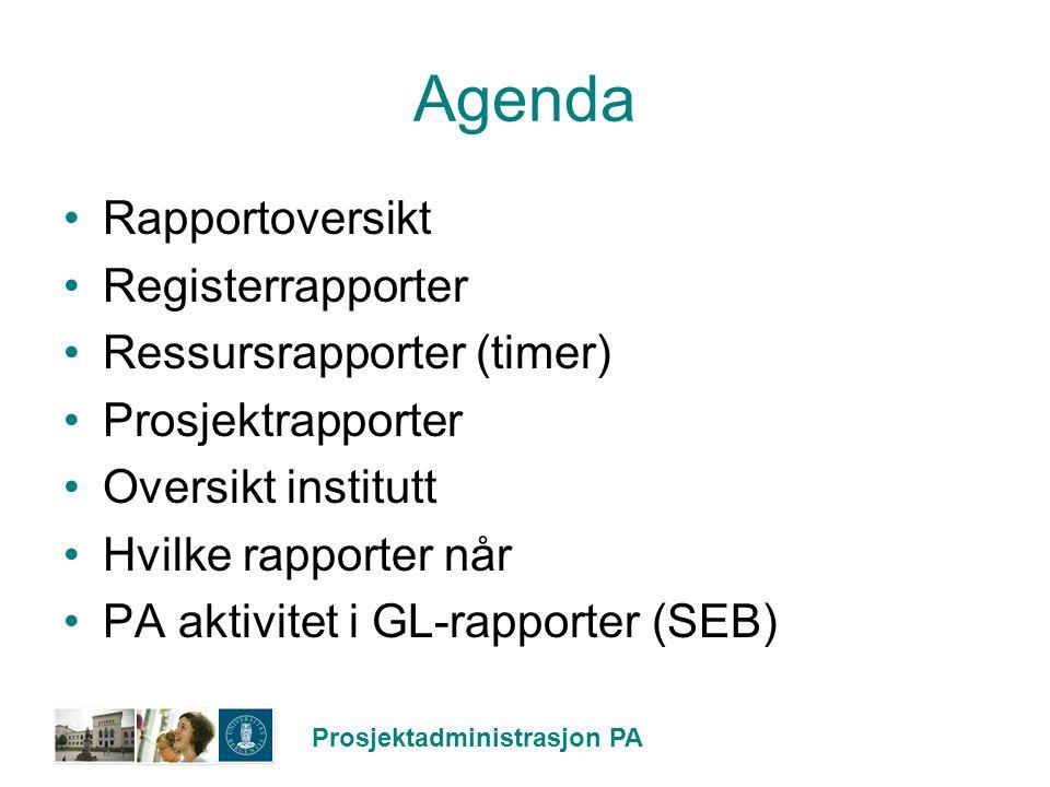 Prosjektadministrasjon PA Rapportoversikt Registerrapport