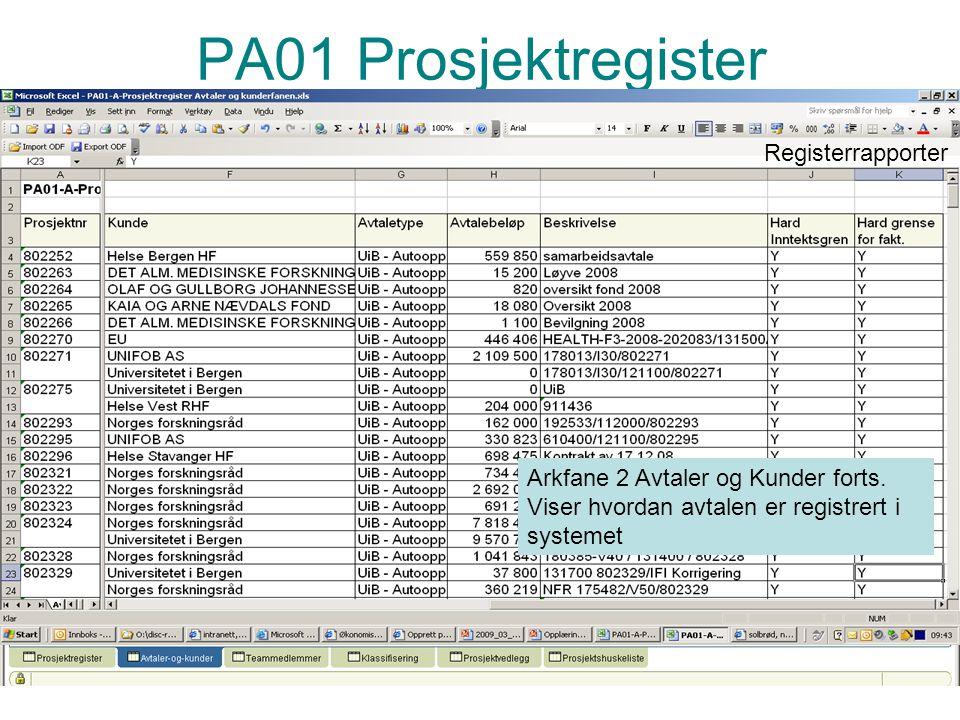 Prosjektadministrasjon PA S11 Artsregnskap GL-rapporter Artsregnskap FFV – prosjekt 199995 konto 3504, 3505 og 3506 viser periodisert inntekt fra PA.