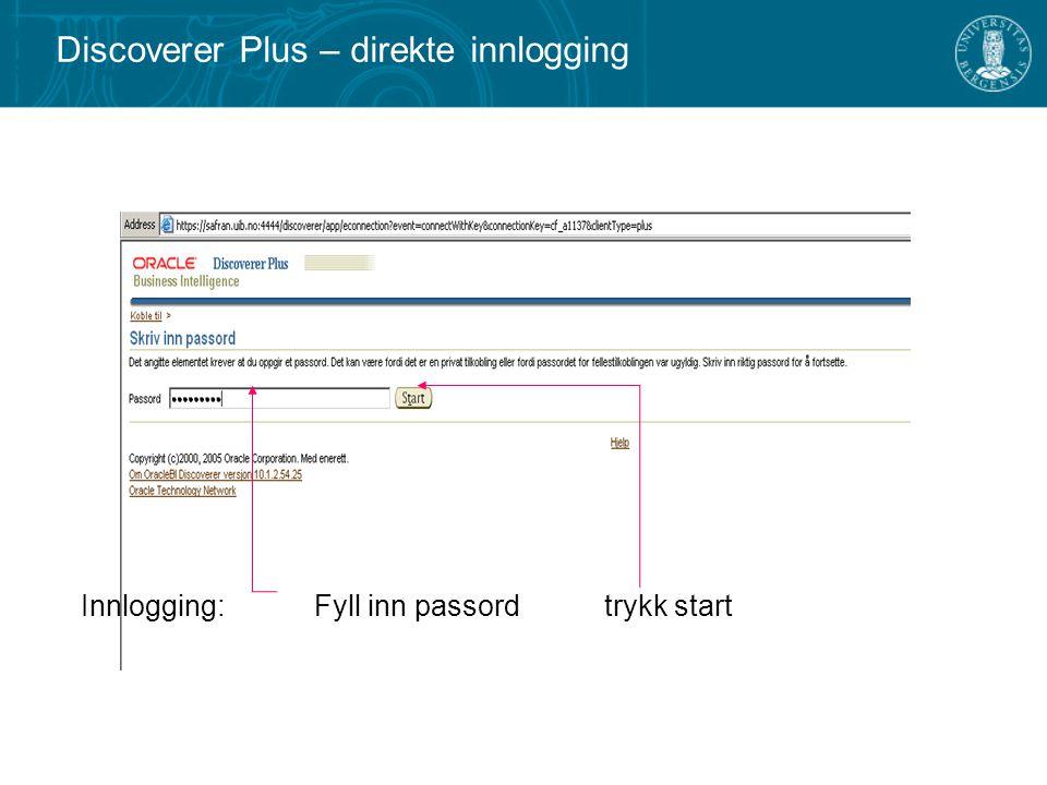 Innlogging: Fyll inn passord trykk start Discoverer Plus – direkte innlogging
