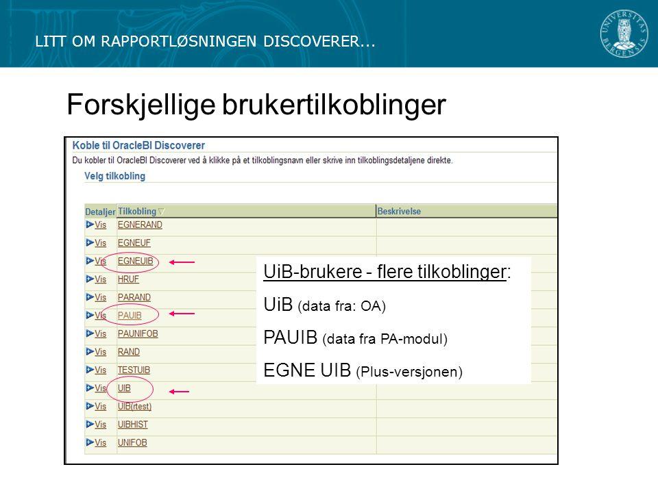 Forskjellige brukertilkoblinger LITT OM RAPPORTLØSNINGEN DISCOVERER...