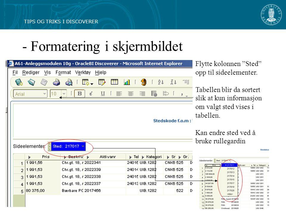 - Formatering i skjermbildet Flytte kolonnen Sted opp til sideelementer.