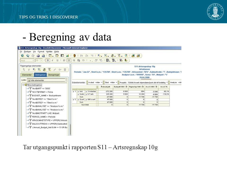 - Beregning av data Tar utgangspunkt i rapporten S11 – Artsregnskap 10g TIPS OG TRIKS I DISCOVERER