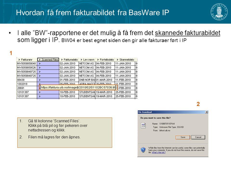 I alle BW -rapportene er det mulig å få frem det skannede fakturabildet som ligger i IP.