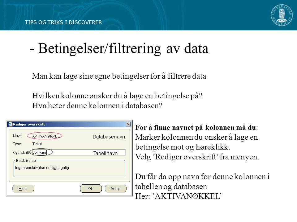 - Betingelser/filtrering av data Man kan lage sine egne betingelser for å filtrere data Hvilken kolonne ønsker du å lage en betingelse på.