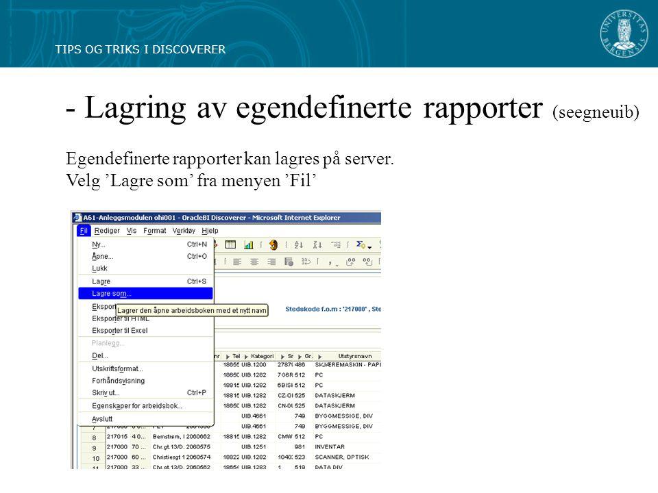 - Lagring av egendefinerte rapporter (seegneuib) Egendefinerte rapporter kan lagres på server.