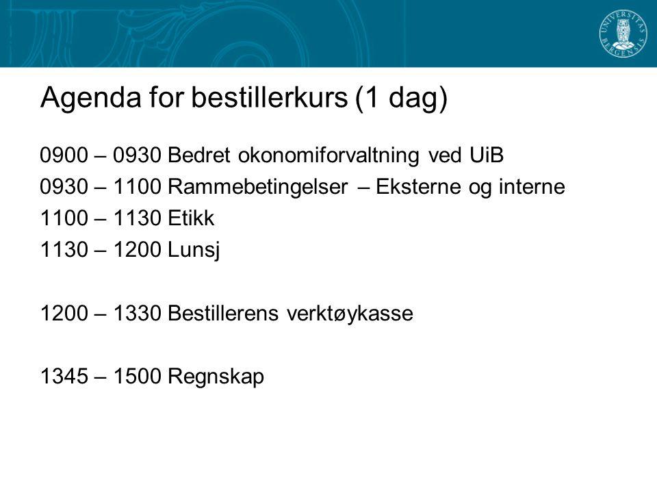 Agenda for bestillerkurs (1 dag) 0900 – 0930 Bedret okonomiforvaltning ved UiB 0930 – 1100 Rammebetingelser – Eksterne og interne 1100 – 1130 Etikk 11