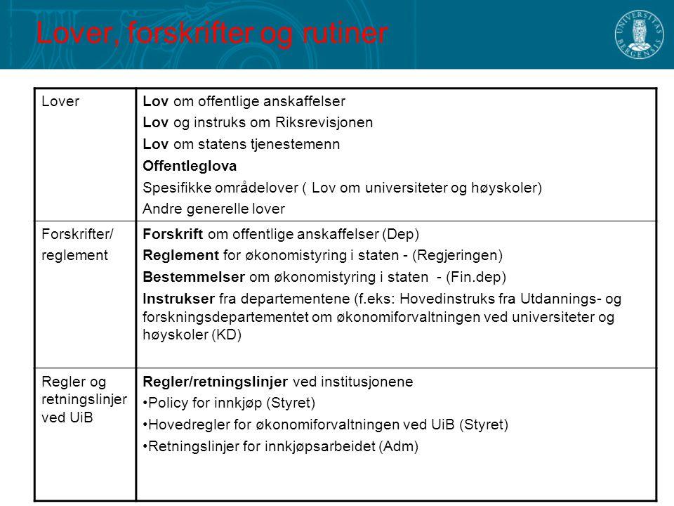 Lover, forskrifter og rutiner LoverLov om offentlige anskaffelser Lov og instruks om Riksrevisjonen Lov om statens tjenestemenn Offentleglova Spesifik