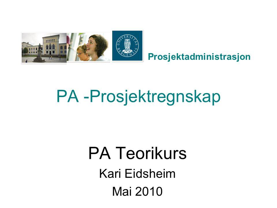 Prosjektadministrasjon PA Reiseregninger i PA Ordinære artskonti og stedkoder brukes På eget elektronisk PA Anvisningsskjema –Finner på N:\PA_Reiseregninger Innland UiB For å få tilgang: Søknad om tilgang til Adm Fellessystemer Eget kryss på skjemaet for PA Reiseregninger –Før på PA-prosjektnummer Begynner med 80xxxx –Før på PA aktivitetsnr –ID nr genereres automatisk (lønn registrerer i PAGA) –Egen linje for EU-mva, art 7798 mot sted 200000 og prosjekt 000000 »(her skal ikke føres inn PA prosjektnr/aktivitet)