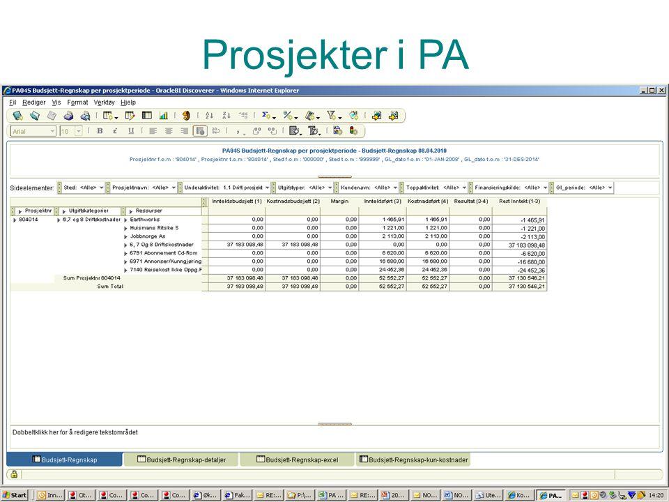 Prosjektadministrasjon PA Vise rapport vedr timer – pa02 eller 04 Prosjekter i PA