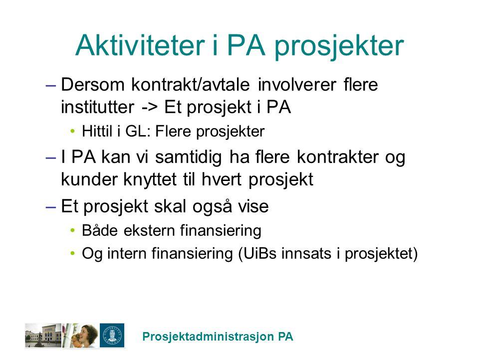 Prosjektadministrasjon PA Aktiviteter i PA prosjekter –Dersom kontrakt/avtale involverer flere institutter -> Et prosjekt i PA Hittil i GL: Flere pros