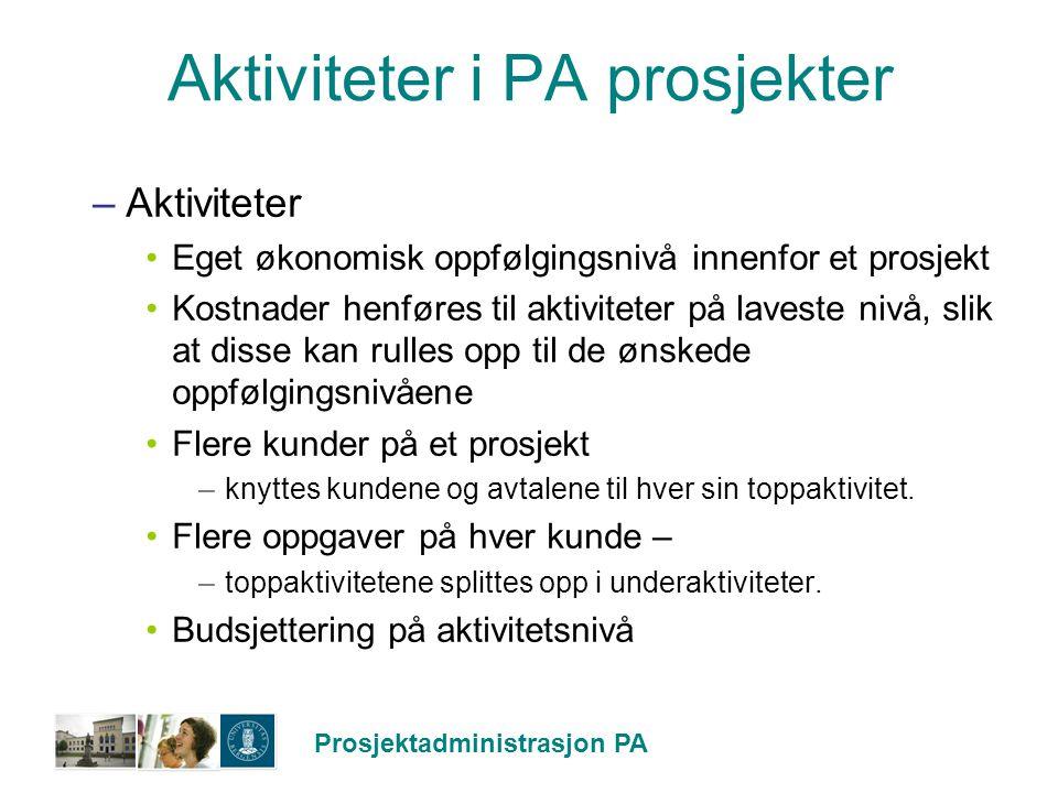 Prosjektadministrasjon PA Aktiviteter i PA prosjekter –Aktiviteter Eget økonomisk oppfølgingsnivå innenfor et prosjekt Kostnader henføres til aktivite