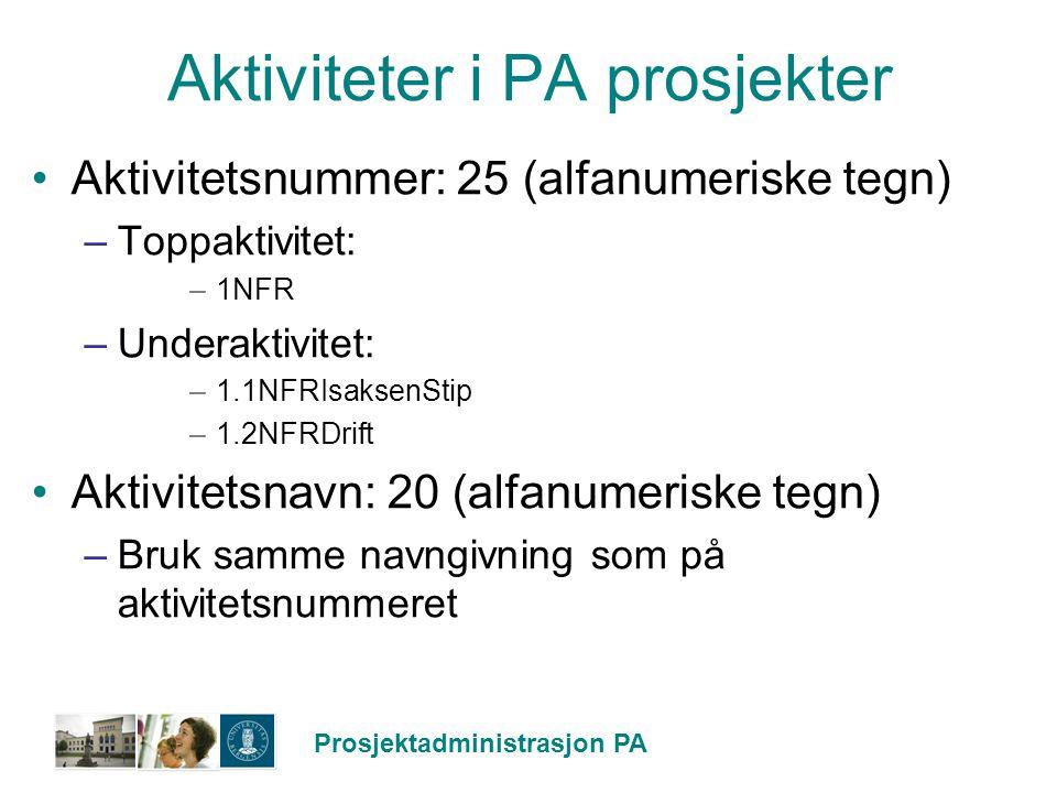 Prosjektadministrasjon PA Aktiviteter i PA prosjekter Aktivitetsnummer: 25 (alfanumeriske tegn) –Toppaktivitet: –1NFR –Underaktivitet: –1.1NFRIsaksenS