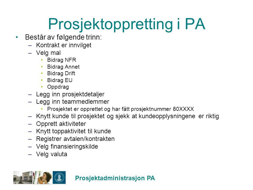 Prosjektadministrasjon PA Prosjektoppretting i PA Består av følgende trinn: –Kontrakt er innvilget –Velg mal Bidrag NFR Bidrag Annet Bidrag Drift Bidr